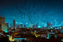 Digital circuit line on blue night city background.  royalty free stock photography