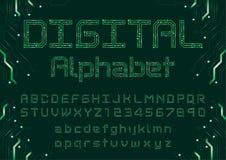 Digital neon font royalty free illustration
