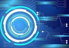 Digital circuit technology blue background Stock Photos