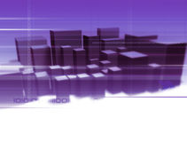 Digital City. Illustration and 3D-Rendering of an abstract city Stock Image