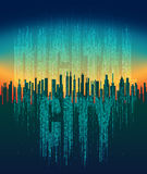 The digital city. Abstract futuristic city, life in the virtual space, cloud service, high-tech background. Network digital technology concept, cloud service Stock Image