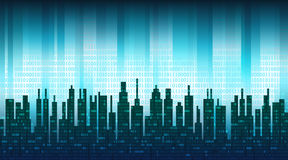 The digital city. Binary data in the cloud over an abstract skyline, blue high-tech background Stock Photos