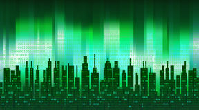 The digital city. Binary data in the cloud over an abstract skyline, green high-tech background Royalty Free Stock Photos