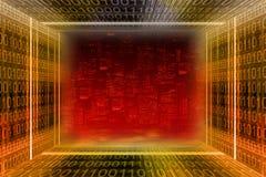 Digital city. Binary tunnel stock image