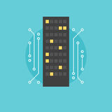 Digital city flat icon illustration Royalty Free Stock Photography