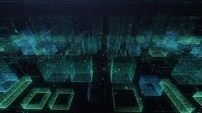 Digital city of the future. holographic city panorama. concept of new technologies, innovations, business