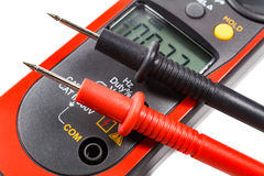 Digital clamp multimeter with probes on a white background Royalty Free Stock Photography
