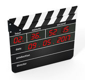 Digital clapboard isolated on white background. 3D illustration.  Stock Photos