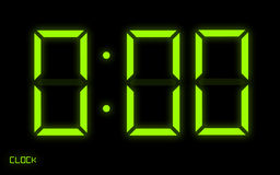 Digital Clock. Time's Up! graphic illustration. Green digital numbers on black background Royalty Free Stock Images