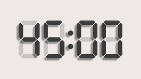 Digital clock countdown from sixty to zero - full HD LCD display - grey numbers over a clear background and with a light shadow royalty free illustration
