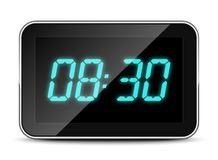 Digital clock icon, vector illustration. Digital clock icon with soft shadow on white background. Vector illustration stock illustration