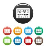 Digital clock icons set color. Digital clock icons set 9 color vector isolated on white for any design stock illustration