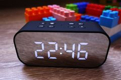 Digital clock with large screen. A great device for you. details and close-up. royalty free stock photo