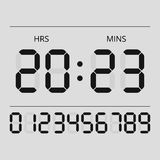 Digital clock and numbers. Simple vector illustration Stock Photos