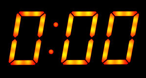 Digital clock show midnight Stock Photo