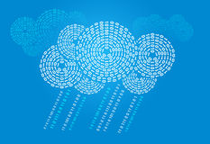 Digital cloud. Cloud computing concept with digital clouds and rain Stock Photos