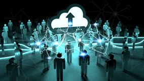Digital cloud illuminating a group of people 3D rendering. Digital cloud and connection downloading datas in front of a group of people 3D rendering Royalty Free Stock Photography
