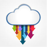 Digital cloud downloading. All arrow going down mean downloading Royalty Free Stock Photos