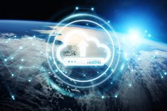 Digital cloud over planet Earth 3D rendering. Digital cloud downloading datas over the globe 3D rendering elements of this image furnished by NASA Royalty Free Stock Photography