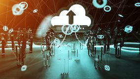 Digital cloud illuminating a group of people 3D rendering. Digital cloud and connection downloading datas in front of a group of people 3D rendering Royalty Free Stock Photo