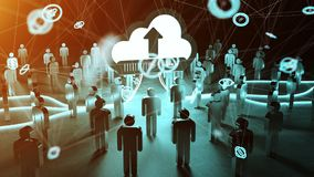 Digital cloud illuminating a group of people 3D rendering. Digital cloud and connection downloading datas in front of a group of people 3D rendering Royalty Free Stock Image