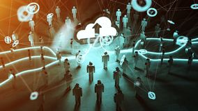 Digital cloud illuminating a group of people 3D rendering. Digital cloud and connection downloading datas in front of a group of people 3D rendering Stock Photo