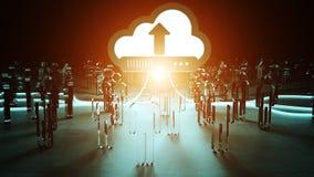 Digital cloud illuminating a group of people 3D rendering. Digital cloud downloading datas in front of a group of people 3D rendering Royalty Free Stock Photos