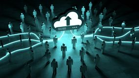 Digital cloud illuminating a group of people 3D rendering. Digital cloud downloading datas in front of a group of people 3D rendering Royalty Free Stock Photography