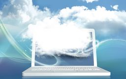 3D Illustration Concept with Digital Cloud on Laptop and with Bl stock illustration