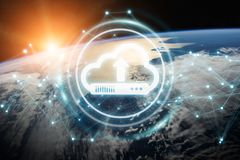 Digital cloud over planet Earth 3D rendering. Digital cloud downloading datas over the globe 3D rendering elements of this image furnished by NASA Royalty Free Stock Photo