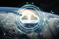Digital cloud over planet Earth 3D rendering. Digital cloud downloading datas over the globe 3D rendering elements of this image furnished by NASA Royalty Free Stock Photos