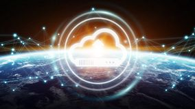 Digital cloud over planet Earth 3D rendering. Digital cloud downloading datas over the globe 3D rendering elements of this image furnished by NASA Royalty Free Stock Images