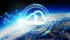 Digital cloud over planet Earth 3D rendering. Digital cloud downloading datas over the globe 3D rendering elements of this image furnished by NASA Stock Photography