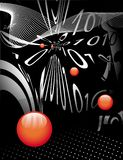 Digital code. Distorted and red balls abstract  technology  background Royalty Free Stock Images