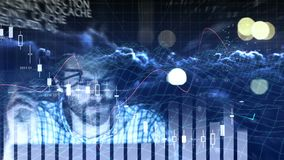 Digital code and weary man. Digital composite of digital code and graphs with man looking at computer monitor and removing his glasses in frustration stock footage