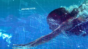 Digital code with woman diving. Digital composite of attractive woman diving into a pool with digital code on the forefront stock footage