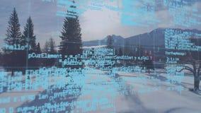 Digital-Codes und schneebedecktes Feld mit Kiefern