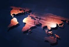 Digital coding on world map Stock Photo