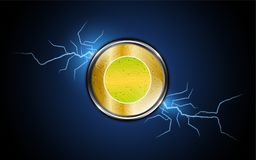 Digital coin symbol on thunder and lighting background design Royalty Free Stock Image
