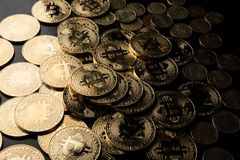 Digital coins of the technological age.  royalty free stock images