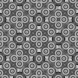 Modern Rosette Seamless Pattern Mosaic. Digital collage technique modern rosette motif ornate seamless pattern mosaci design in black and white colors stock image
