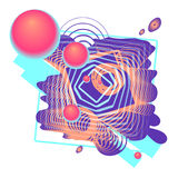 Digital color abstract composition with 3D-balls, rings, lines. Abstraction flying 3d spheres of big and small. Colorful composition of the orange-pink blue Stock Image