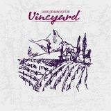 Digital color  detailed line art purple. Digital color  detailed line art vintage purple vineyard fields on mountains background hand drawn illustration set Royalty Free Stock Image