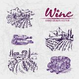 Digital color  detailed line art purple. Digital color  detailed line art vintage purple vineyard fields, wine and barrels stacked hand drawn illustration set Stock Photography