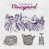 Digital color  detailed line art purple. Digital color  detailed line art vintage purple wooden stacked wine barrels, basket and wine press hand drawn Stock Photos