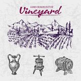 Digital color  detailed line art purple. Digital color  detailed line art vintage purple wooden wine barrel, pitcher and wine press hand drawn illustration set Stock Image