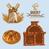 Digital color  detailed line art golden. Digital color  detailed line art round bread, wheat an red brick oven with woods prepared for fire hand drawn Stock Photography