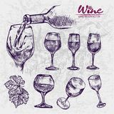 Digital color  detailed line art different. Digital color  detailed line art vintage different shapes of wine glasses and splashing pouring drink hand drawn set Stock Photos