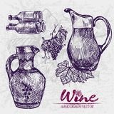 Digital color  detailed line art ornamented. Digital color  detailed line art vintage ornamented and transparent pitchers, wine bottles stacked and bunches with Royalty Free Stock Photos