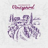 Digital color  detailed line art purple. Digital color  detailed line art vintage purple vineyard fields with buildings and trees hand drawn illustration set Royalty Free Stock Photography